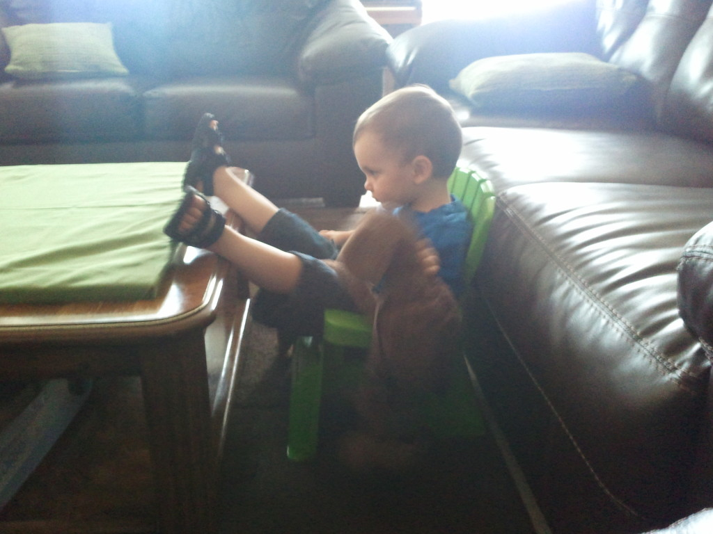 Chillin' with his puppy while watching Blue's Clues