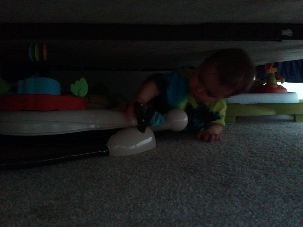 Finding the toys he's outgrown that we keep under the guest room bed.