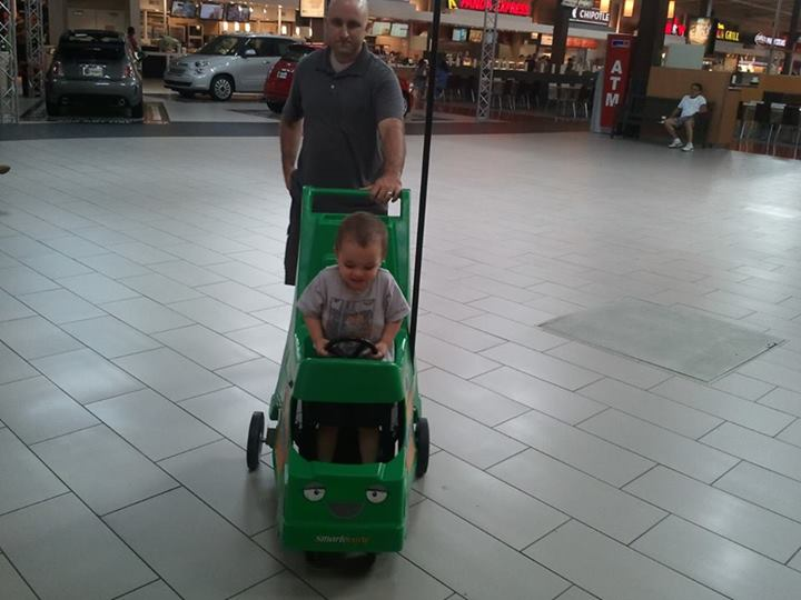 We took a trip to the mall...he loved this cart!