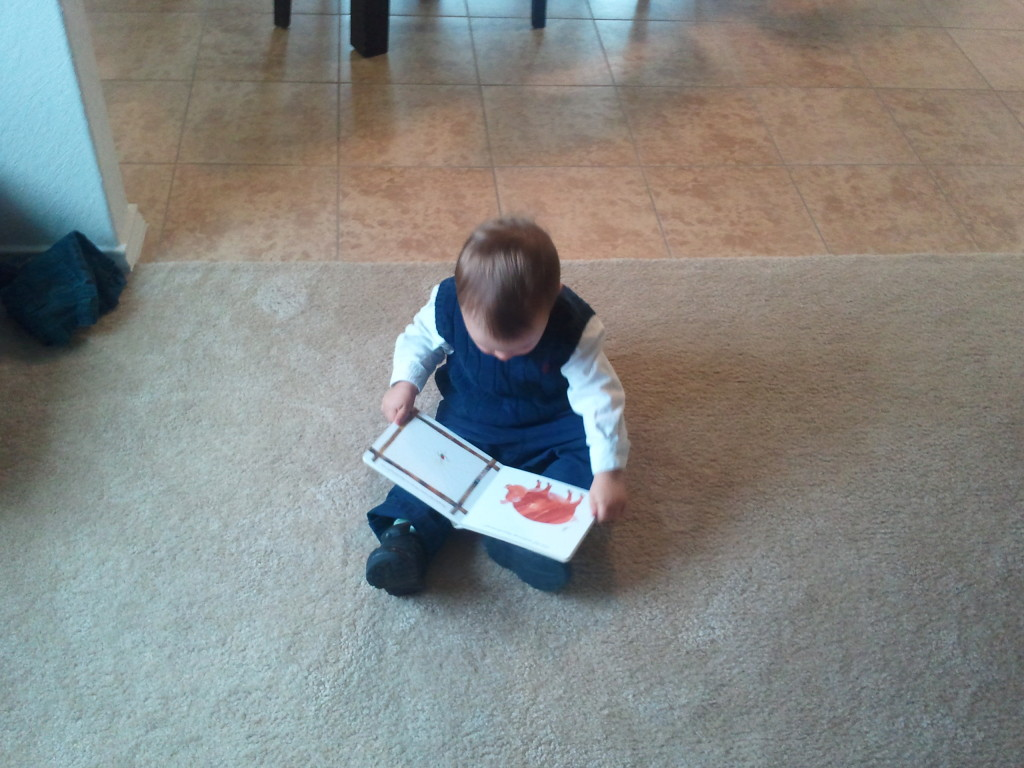 Checking out his new book.