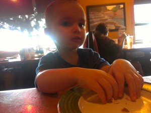 Eating chicken at Applebee's
