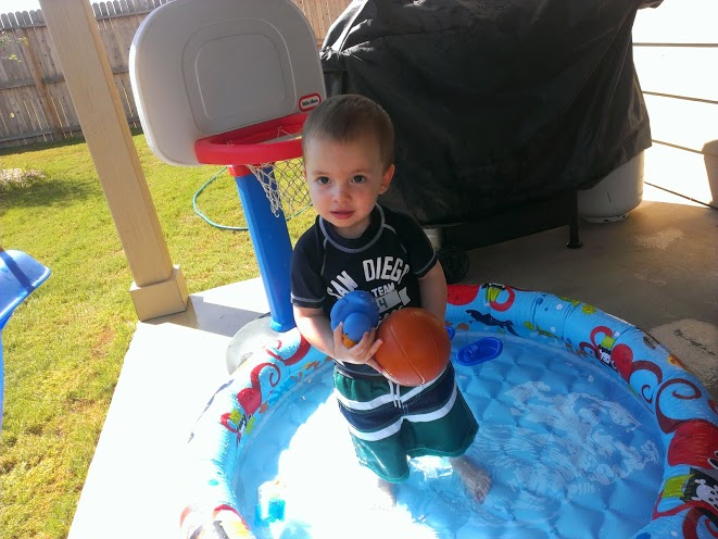 He liked it when Paul set it up so that the ball went through the hoop and then dropped right back into the water.
