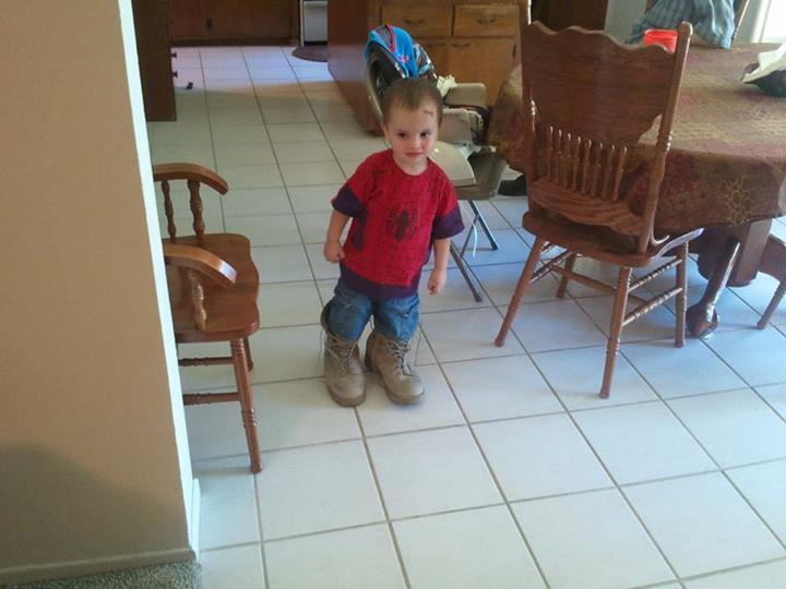 walking in Daddy's boots
